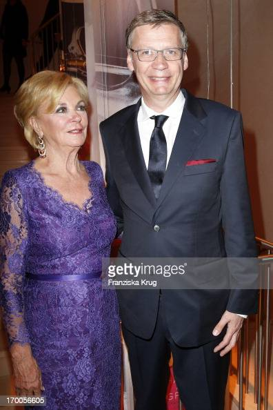 Liz Mohn and Guenther Jauch attend the Bertelsmann Summer Party at the Bertelsmann representative office on June 6 2013 in Berlin Germany