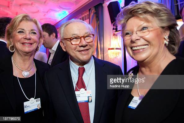 Liz Mohn DLD Chairman Hubert Burda and EU Commissioner Viviane Reding attend the Burda DLD Nightcap 2011 at the Steigenberger Belvedere hotel on...