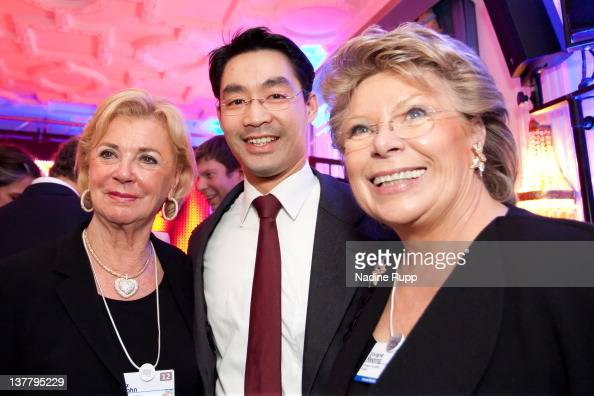 Liz Mohn Economy Minister Philipp Roesler and EU Commissioner Viviane Reding attend the Burda DLD Nightcap 2011 at the Steigenberger Belvedere hotel...