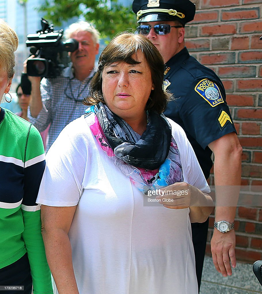 Liz Norden, whose two sons, Paul and J.P. were severely injured in the bombings arrived at the courthouse. Alleged Boston Marathon bomber Dzhokhar Tsarnaev appeared for an arraignment at the John Joseph Moakley United States Courthouse to face charges in the Boston Marathon bombings.