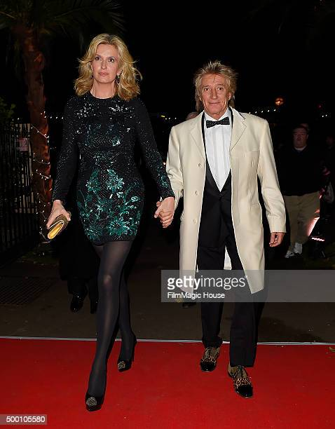 Liz Penny Lancaster Stewart and Rod Stewart attend the Emeralds Ivy Ball in aid of Cancer Research UK and the Marie Keating Foundation at Embankment...