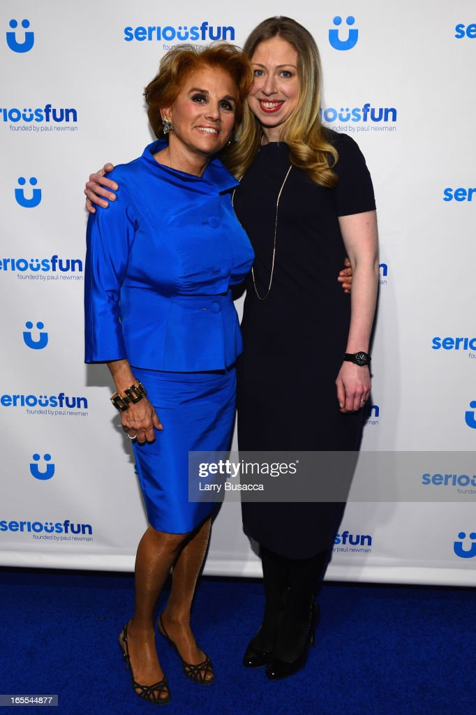 Liz Robbins and Chelsea Clinton attend SeriousFun Children's Network event honoring Liz Robbins with celebrity guests at Pier Sixty at Chelsea Piers on April 4, 2013 in New York City.