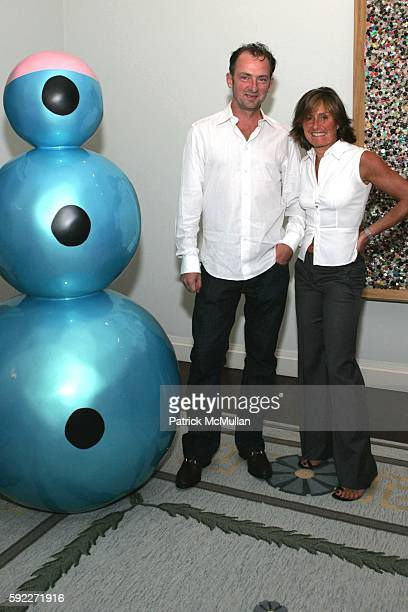 Liz Swig and Gary Hume attend Kent and Liz Swig Host a Dinner In Honor of Artist Gary Hume at Kent and Liz Swig Duplex on September 22 2005 in New...
