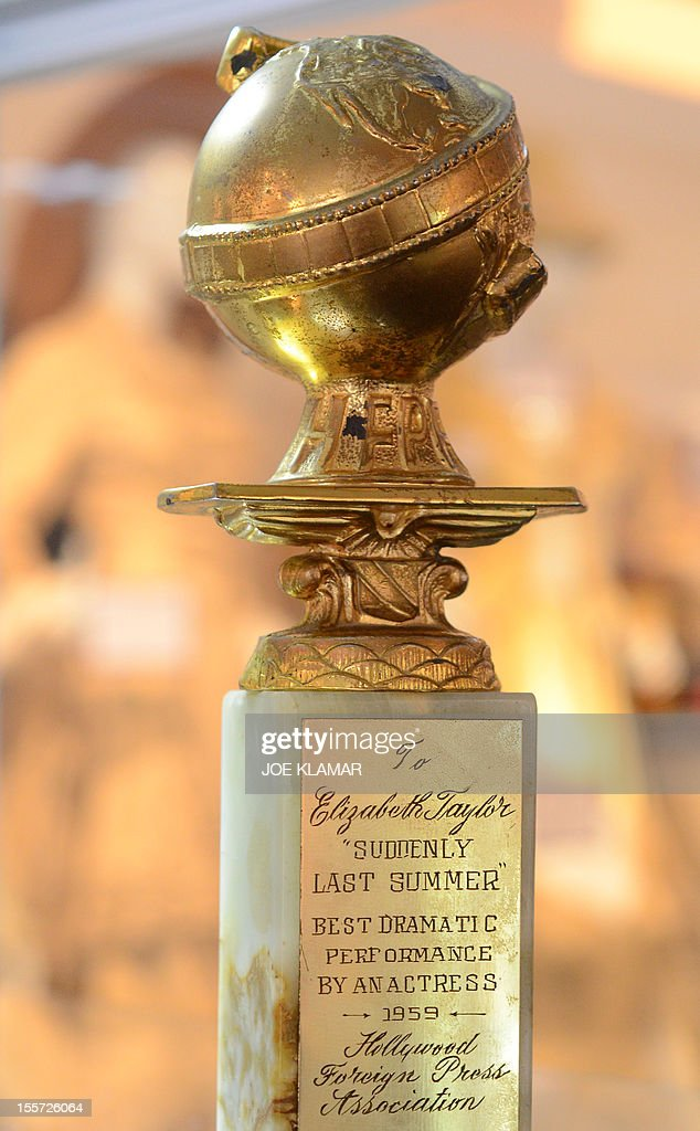 Liz Taylor's Golden Globe Award from 1959 is displayed at Julien's Auctions in Beverly Hills ,California on November 7, 2012. Julien's Auctions, the world's premiere celebrity and memorabilia auction house, announces Hollywood Icons & Idols,an unprecedented Hollywood collection of over 800 items of screen worn wardrobe, props, original photographs, and celebrity (Marilyn Monroe, Judy Garland, JFK,Bruce Lee, Liz Taylor and ohers) owned items on November 9-10, 2012 at Julien's Auctions Beverly Hills Gallery.