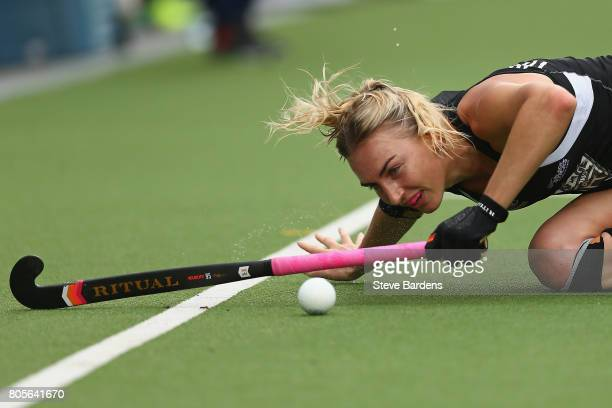 Liz Thompson of New Zealand keeps her eye on the ball during the 3rd/4th place play off match between Korea and New Zealand on July 2 2017 in...