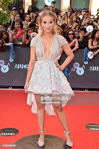 Liz Trinnear arrives at the 2015 MuchMusic Video Awards at MuchMusic HQ on June 21 2015 in Toronto Canada