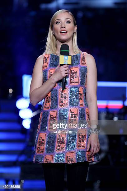 Liz Trinnear ETalk reporter attends WE Day Toronto at the Air Canada Centre on October 1 2015 in Toronto Canada