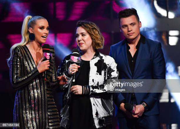 Liz Trinnear Serena Ryder and Shawn Hook present at the 2017 iHeartRADIO MuchMusic Video Awards at MuchMusic HQ on June 18 2017 in Toronto Canada