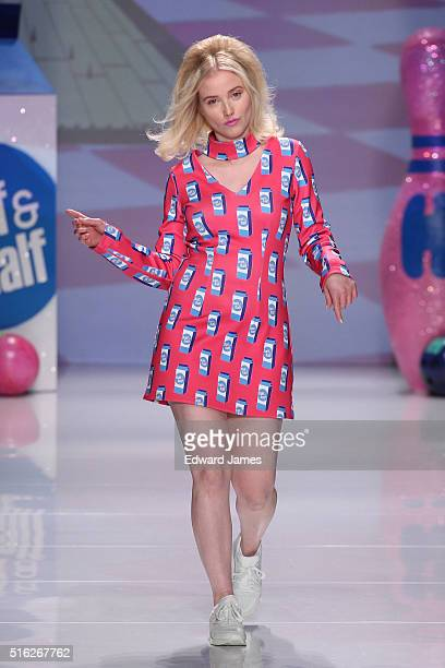 Liz Trinnear walks the runway during the Hayley Elsaesser fashion show at David Pecaut Square on March 17 2016 in Toronto Canada