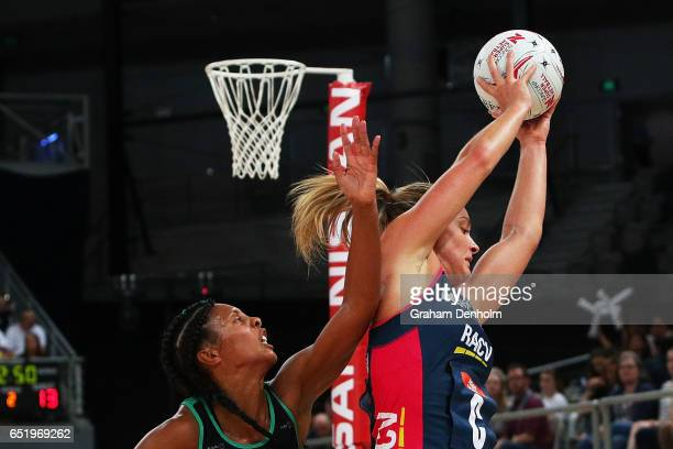 Liz Watson of the Vixens catches under pressure during the round four Super Netball match between the Vixens and the Fever at Hisense Arena on March...