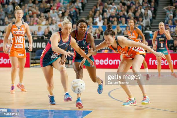 Liz Watson of the Vixens chases the ball during the Super Netball Preliminary Final match between the Vixens and the Giants at Hisense Arena on June...