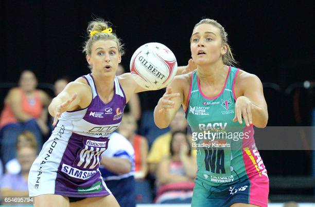 Liz Watson of the Vixens passes the ball during the round five Super Netball match between the Firebirds and the Vixens at Brisbane Entertainment...