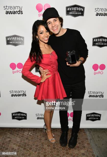 Liza Koshy and David Dobrik at go90 Streamys After Party at Poppy on September 26 2017 in Los Angeles California