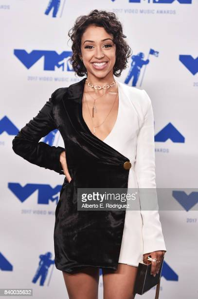 Liza Koshy poses in the press room during the 2017 MTV Video Music Awards at The Forum on August 27 2017 in Inglewood California