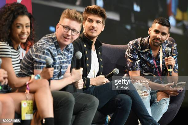 Liza Koshy Tyler Oakley Joey Graceffa and Phillip Picardi appear at Escape the Night 2 panel and premiere at VidCon at Anaheim Convention Center on...