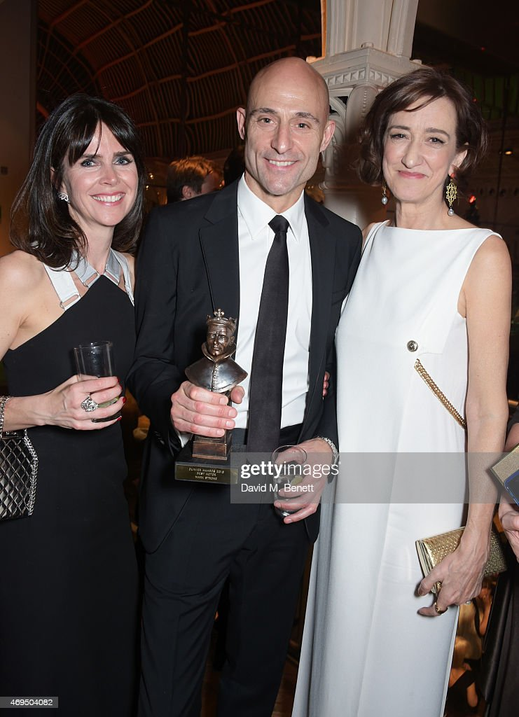 Liza Marshall Mark Strong and Haydn Gwynne attend The Olivier Awards after party at The Royal Opera House on April 12 2015 in London England