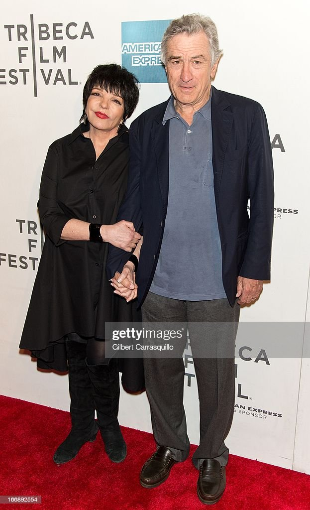 <a gi-track='captionPersonalityLinkClicked' href=/galleries/search?phrase=Liza+Minnelli&family=editorial&specificpeople=121547 ng-click='$event.stopPropagation()'>Liza Minnelli</a> and Co-Founder Tribeca Film Festival <a gi-track='captionPersonalityLinkClicked' href=/galleries/search?phrase=Robert+De+Niro&family=editorial&specificpeople=201673 ng-click='$event.stopPropagation()'>Robert De Niro</a> attend the 'Mistaken for Strangers premiere during the opening night of the 2013 Tribeca Film Festival at BMCC Tribeca PAC on April 17, 2013 in New York City.