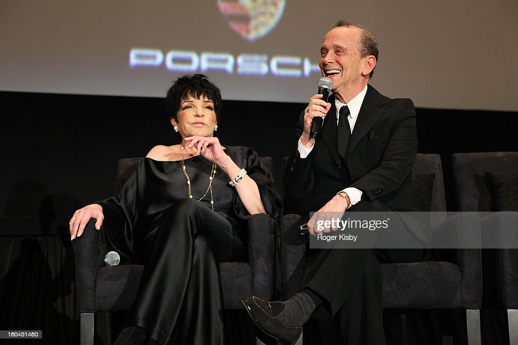 <a gi-track='captionPersonalityLinkClicked' href=/galleries/search?phrase=Liza+Minnelli&family=editorial&specificpeople=121547 ng-click='$event.stopPropagation()'>Liza Minnelli</a> and <a gi-track='captionPersonalityLinkClicked' href=/galleries/search?phrase=Joel+Grey&family=editorial&specificpeople=215297 ng-click='$event.stopPropagation()'>Joel Grey</a> speak at the 'Cabaret' 40th Anniversary New York Screening at Ziegfeld Theatre on January 31, 2013 in New York City.