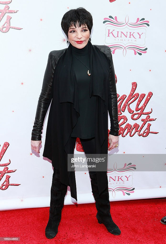<a gi-track='captionPersonalityLinkClicked' href=/galleries/search?phrase=Liza+Minnelli&family=editorial&specificpeople=121547 ng-click='$event.stopPropagation()'>Liza Minnelli</a> attends the 'Kinky Boots' Broadway Opening Night at the Al Hirschfeld Theatre on April 4, 2013 in New York City.