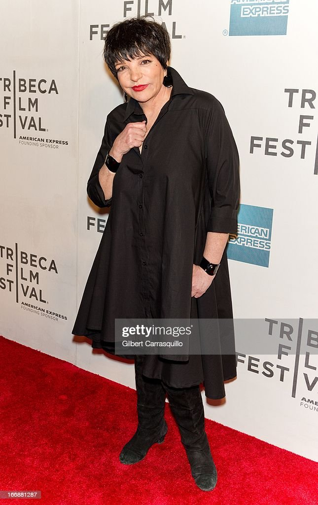 <a gi-track='captionPersonalityLinkClicked' href=/galleries/search?phrase=Liza+Minnelli&family=editorial&specificpeople=121547 ng-click='$event.stopPropagation()'>Liza Minnelli</a> attends the 'Mistaken for Strangers' premiere during the opening night of the 2013 Tribeca Film Festival at BMCC Tribeca PAC on April 17, 2013 in New York City.