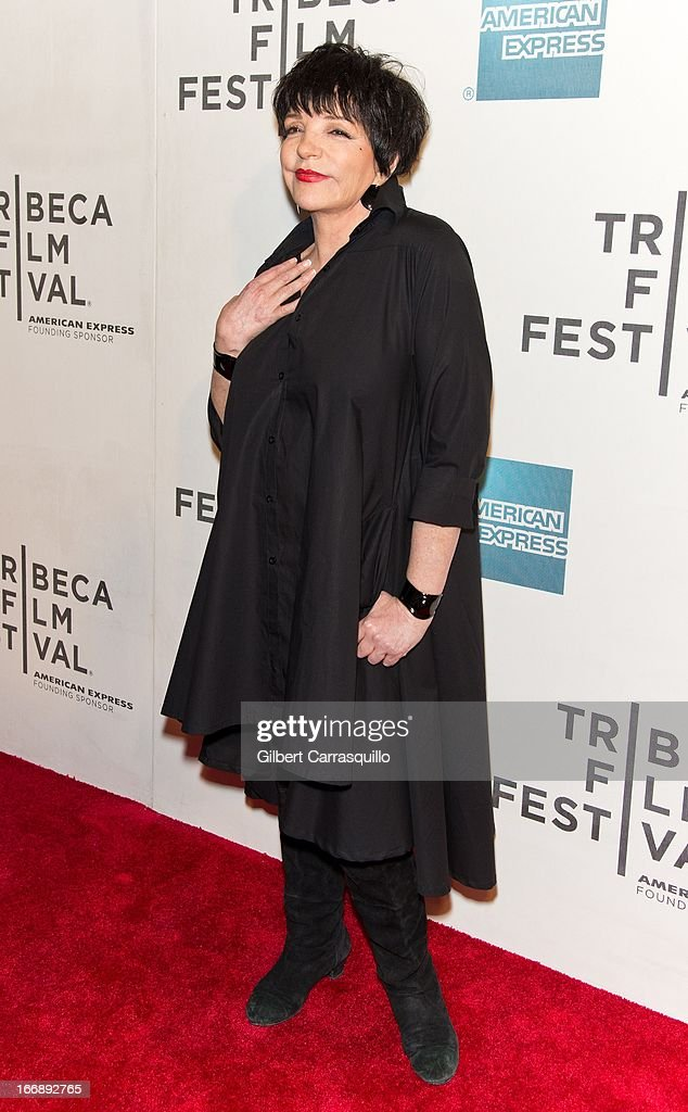 <a gi-track='captionPersonalityLinkClicked' href=/galleries/search?phrase=Liza+Minnelli&family=editorial&specificpeople=121547 ng-click='$event.stopPropagation()'>Liza Minnelli</a> attends the 'Mistaken for Strangers premiere during the opening night of the 2013 Tribeca Film Festival at BMCC Tribeca PAC on April 17, 2013 in New York City.