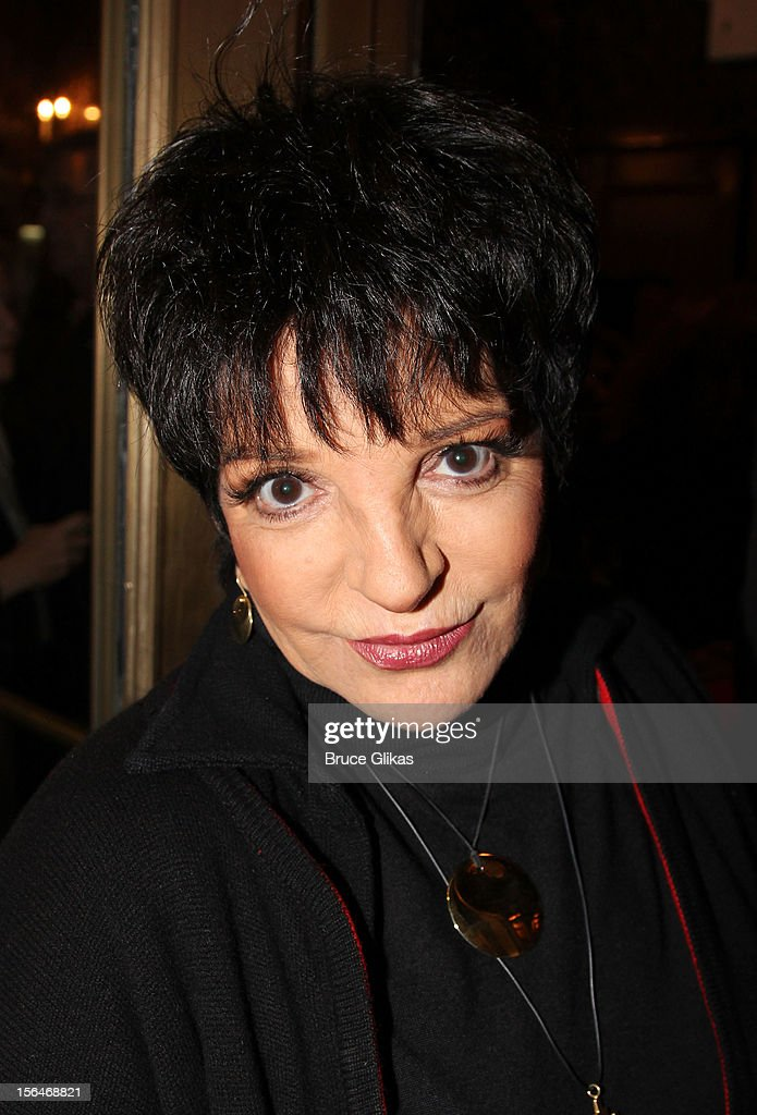 <a gi-track='captionPersonalityLinkClicked' href=/galleries/search?phrase=Liza+Minnelli&family=editorial&specificpeople=121547 ng-click='$event.stopPropagation()'>Liza Minnelli</a> attends the opening night of 'Scandalous' on Broadway at the Neil Simon Theatre on November 15, 2012 in New York City.
