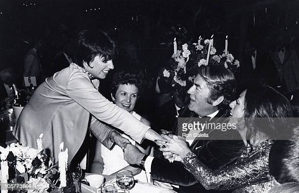 Liza Minnelli Gregory Peck and guest during 45th Annual Academy Awards Governors Ball at Beverly Hilton Hotel in Beverly Hills California United...