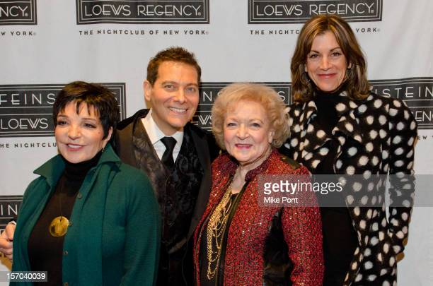 Liza Minnelli Michael Feinstein Betty White and Wendie Malick attend 'A Gershwin Holiday' opening night at Feinstein's at Loews Regency Ballroom on...
