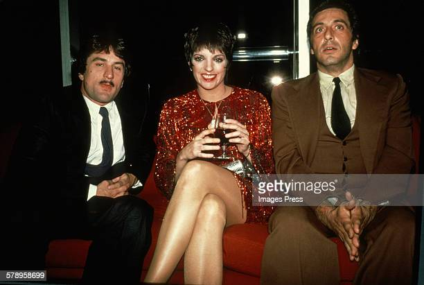 Liza Minnelli with Robert De Niro and Al Pacino circa 1981 in New York City