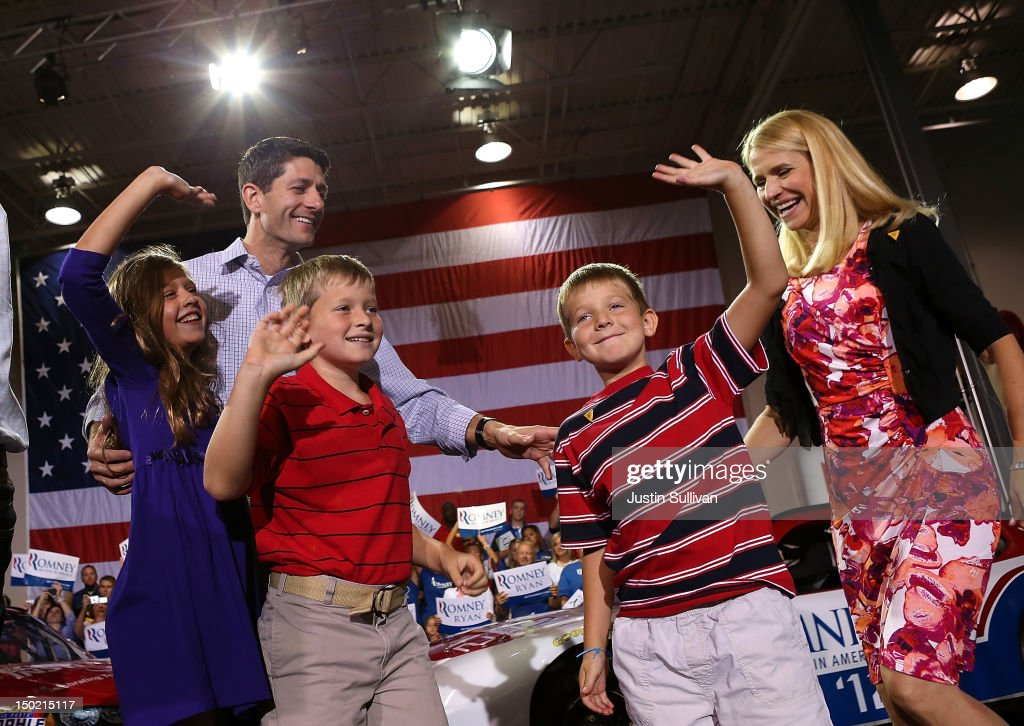 Liza Ryan, Republican vice presidential candidate, U.S. Rep. Paul Ryan (R-WI), Charlie Ryan, Sam Ryan and wife Janna Ryan greet supporters during a campaign rally at the NASCAR Technical Institute on August 12, 2012 in Mooresville, North Carolina. Mitt Romney continues his four day bus tour a day after announcing his running mate, Rep. Paul Ryan (R-WI).