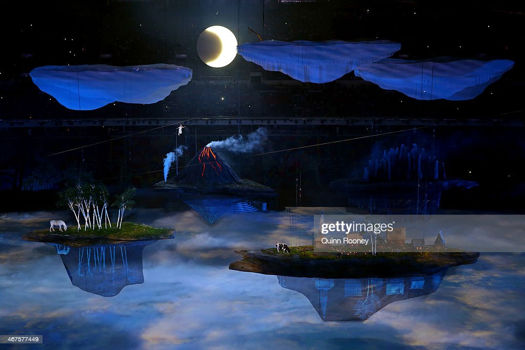 Liza Temnikova as Lyubov performs Voices of Russia during the Opening Ceremony of the Sochi 2014 Winter Olympics at Fisht Olympic Stadium on February...