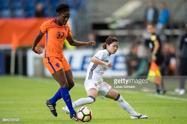 Liza van der Most of Netherlands and Yui Hasegawa of Japan fight for the ball during the Women's International Friendly match between Netherlands and...