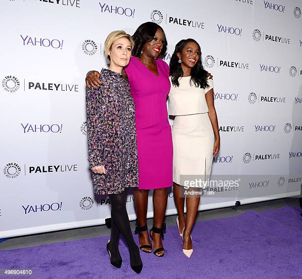 Liza Weil Viola Davis and Aja Naomi King attend PaleyLive NY 'How To Get Away With Murder' at The Paley Center for Media on November 12 2015 in New...