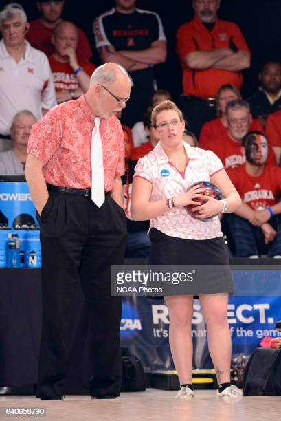 Lizabeth Kuhlkin of Nebraska gets coaching advice from her head coach Bill Straub during the Division I Women's Bowling Championship that were held...