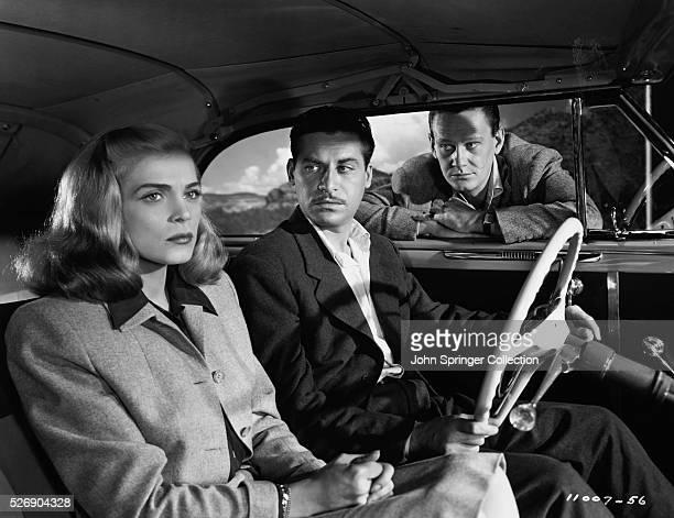 Lizabeth Scott as Paula Haller John Hodiak as Eddie Bendix and Wendell Corey as Johnny Ryan in the 1947 film Desert Fury