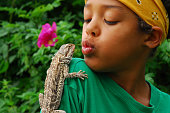 "Boy with his ""best"" friend: A bearded agama."