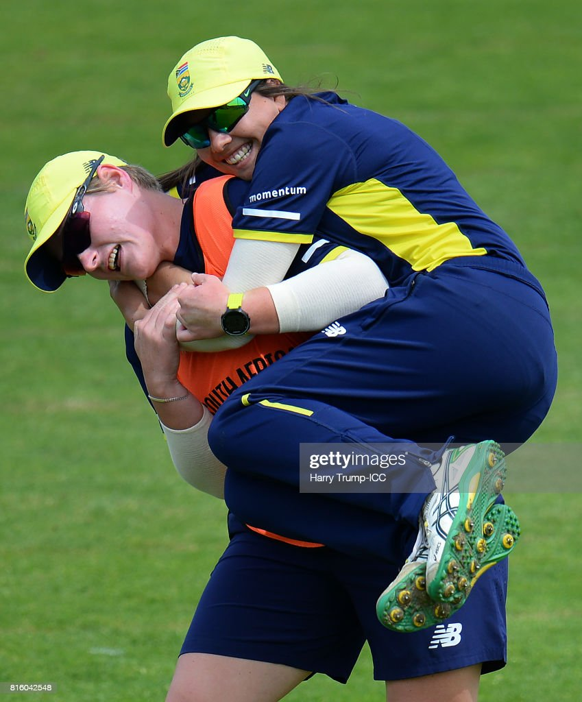 Lizelle Lee and Sun Luus of South Africa share a laugh during the England v South Africa - ICC Women's World Cup: Previews at the Brightside Ground on July 17, 2017 in Bristol, England.