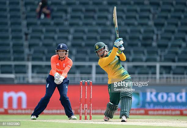 Lizelle Lee of South Africa bats during the 3rd T20 International match between South Africa and England at Wanderers Stadium on February 21 2016 in...