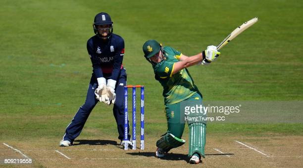 Lizelle Lee of South Africa bats during the ICC Women's World Cup 2017 match between England and South Africa at The County Ground on July 5 2017 in...