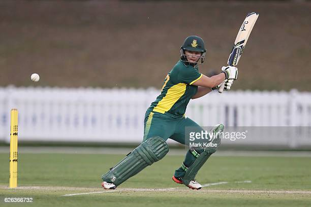 Lizelle Lee of South Africa bats during the women's one day international match between Australia and South Africa on November 29 2016 in Coffs...