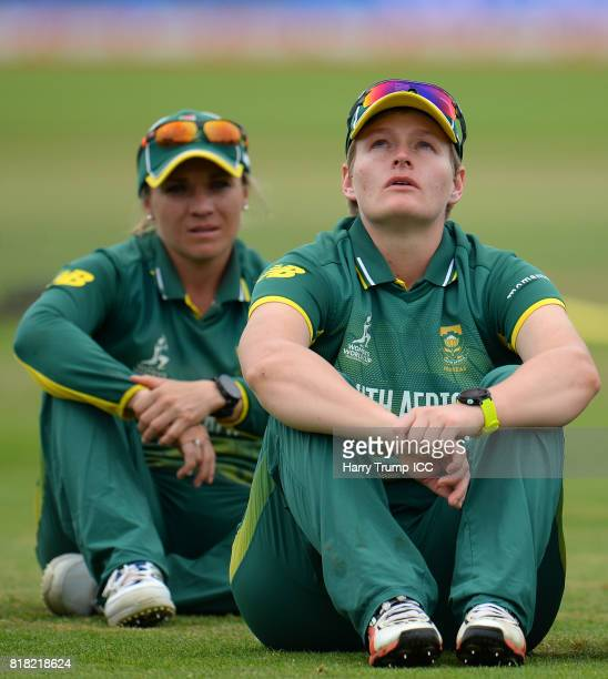 Lizelle Lee of South Africa cuts a dejected figure during the ICC Women's World Cup 2017 SemiFinal match between England and South Africa at The...