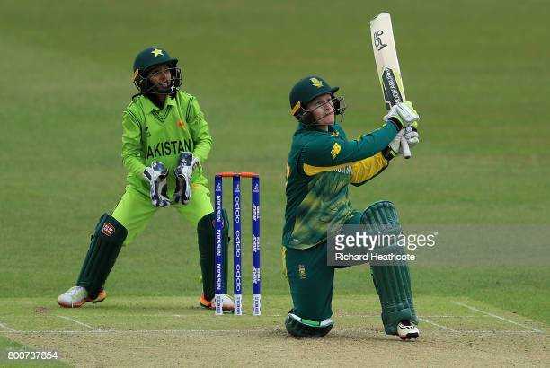 Lizelle Lee of South Africa hits a six during the ICC Women's World Cup group match between Pakistan and South Africa at Grace Road on June 25 2017...