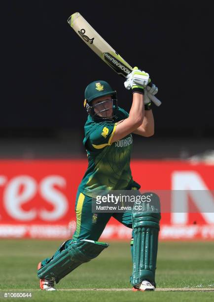 Lizelle Lee of South Africa hits a six during the ICC Women's World Cup 2017 match between South Africa and India at Grace Road on July 8 2017 in...