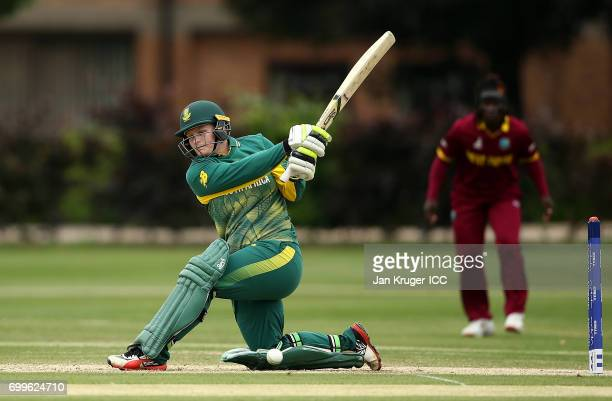Lizelle Lee of South Africa hits out during the ICC Women's World Cup warm up match between West Indies and South Africa at Oakham School on June 22...