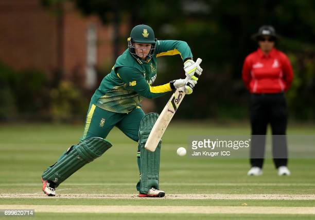 Lizelle Lee of South Africa in action delivery during the ICC Women's World Cup warm up match between West Indies and South Africa at Oakham School...