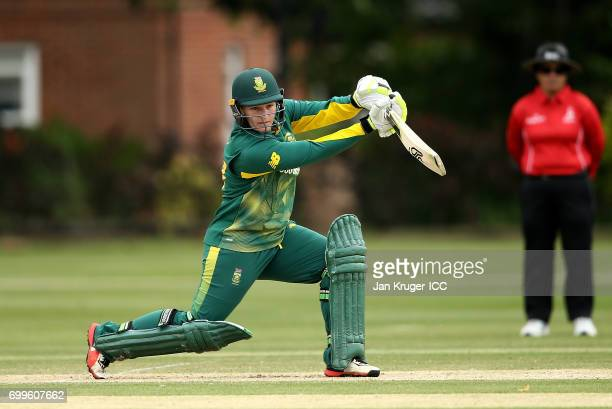 Lizelle Lee of South Africa in action during the ICC Women's World Cup warm up match between West Indies and South Africa at Oakham School on June 22...