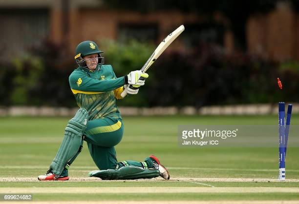 Lizelle Lee of South Africa is bowled during the ICC Women's World Cup warm up match between West Indies and South Africa at Oakham School on June 22...