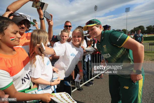 Lizelle Lee of South Africa takes a selfie with local cricket fans after the ICC Women's World Cup 2017 match between South Africa and India at Grace...