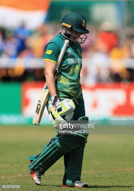 Lizelle Lee of South Africa walks off after being bowled LBW by Harmanpreet Kaur of India during the ICC Women's World Cup 2017 match between South...