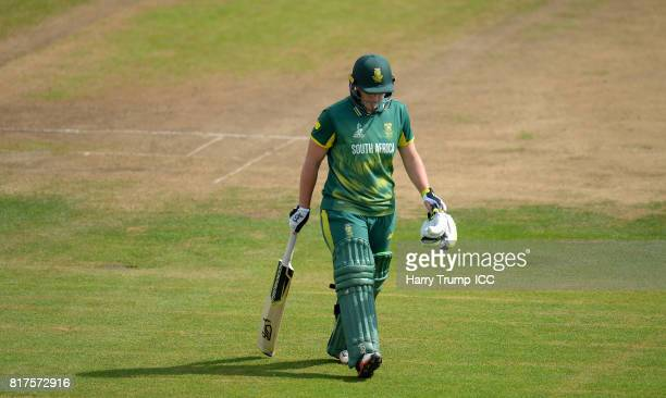Lizelle Lee of South Africa walks off after being dismissed during the ICC Women's World Cup 2017 SemiFinal match between England and South Africa at...